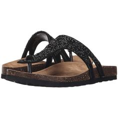 Not Rated Bushey (Black) Women's Sandals ($28) ❤ liked on Polyvore featuring shoes, sandals, black, slip-on shoes, platform sandals, black sandals, jewel sandals and slip on shoes