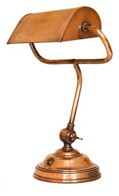 1920's Copper and Brass Bankers Lamp More
