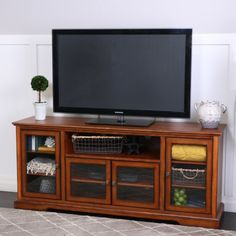 """70"""" Rustic Brown Wood Highboy Style TV Stand"""