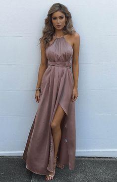 CAROLINA MAXI - MOCHA (PREORDER) Satin Dresses 87b4f2716