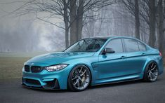 Download wallpapers BMW M3, F80, blue sedan, tuning M3, gray wheels, new blue M3, German cars, BMW