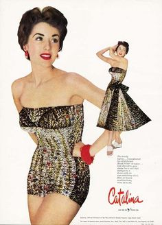 Catalina Bathing Suit Ad 1953 Shown with A Matching Skirt Advertisement | eBay