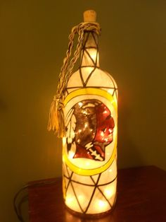 Hand Painted Lighted Wine Bottle Red Skins Inspiered Stained Glass look