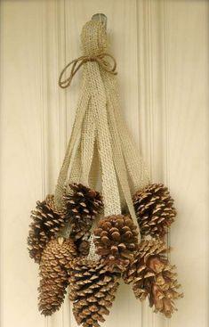 61 Ideas For Diy Christmas Decorations Wreaths Pine Cones Noel Christmas, Rustic Christmas, Christmas Wreaths, Christmas Ornaments, Christmas Pine Cones, Winter Wreaths, Spring Wreaths, Christmas Ribbon, Primitive Christmas