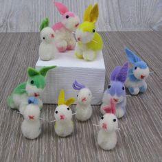 10 Vintage West German Pom Pom Bunnies Felt Rabbits Pastel for Crafts Easter Decoration