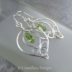Peridot Blossom Drop Leaf Sterling Silver Earrings (custom order) | by KSJewelleryDesigns