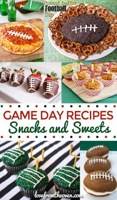 Super Bowl Snacks and Sweets - Love From The Oven Football Party Foods, Football Birthday, Football Food, Football Treats, Football Desserts, Football Recipes, Football Cupcakes, Football Parties, Sports Birthday