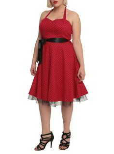 sold out in my size of course... i wish it was as easy to find dresses with BLACK polka dots as it is to find them w/ white..  Red & Black Polka Dot Dress Plus Size | Hot Topic
