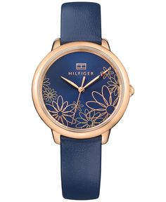 Tommy Hilfiger Women's Casual Sport Navy Leather Strap Watch a Macy's Exclusive Style - Blue Tommy Hilfiger Watches, Popular Watches, Trendy Watches, Unique Watches, Sport Casual, Women's Casual, Hugo Boss, Rip Curl, Luxury Watches For Men
