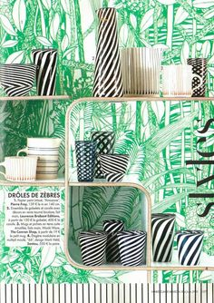 "Merci Marie Claire Maison ! Beautiful set with the ""Amazone"" wallpaper from Pierre Frey ! © Sophie Boussahba"