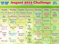 August Workout Calendar! Grab it on www.myfitstation....