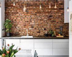 Brick Interior, Kitchen Interior, Interior Design Living Room, Kitchen Design, Industrial Style Kitchen, Industrial House, Basement Bar Designs, Wooden Kitchen, Kitchen Brick