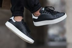 The adidas Stan Smith Bold Comes In Core Black.