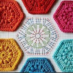 What a great hexagon chart pattern! I found this on. (Mingky Tinky Tiger + the Biddle Diddle Dee)Gehäkelte Hexagons für Decken, Kissen und Easy Crochet Granny Square Patterns Crochet Motifs, Hexagon Pattern, Crochet Blocks, Granny Square Crochet Pattern, Crochet Mandala, Crochet Diagram, Crochet Chart, Crochet Squares, Love Crochet
