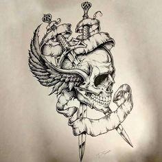 Sucker for skull art Skeleton Tattoos, Skull Tattoos, Body Art Tattoos, Side Tattoos, Wolf Tattoos, Tattoo Sketches, Tattoo Drawings, Geometric Henna, Neo Tattoo