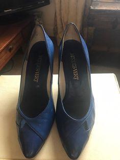 Vintage Royal Blue Court Shoes Pumps Slip Ons | Etsy Blue Court Shoes, Stilettos, Pumps, Pump Shoes, Flats, Leather High Heels, Royal Blue, Slip On, Vintage