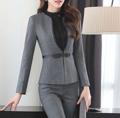 Two Piece Formal Pant Suit Full Sleeve Office Lady Uniform Design Women Business Suits Gray Blazer With Trouser For Work Formal Pant Suits, Pants For Women, Clothes For Women, Work Suits For Women, Pantsuits For Women, Uniform Design, Business Women, Business Lady, Professional Outfits