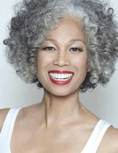Gray curly hair. Please Lord let this be me when I'm older!