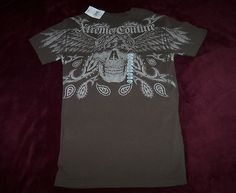 MEN'S XTREME COUTURE NWT BANDANA BROWN GRAPHIC TEE SHIRT SIZE SMALL