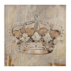 Bring substance and style to your wall decor with our Jeweled Crown Canvas Art Print. You'll love the way its distressed gray finish accents your room. Crown Decor, Crown Art, Diy Canvas Art, Canvas Art Prints, Crown Painting, Crown Pictures, Chandelier Art, My New Room, Wall Art Decor