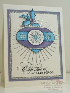 Stampin' Up! ... handmade Christmas card from KathleenStamps ... pretty bauble in purple, blue and white ... silver embossing and glitter paper ... luv all the shiny details ...
