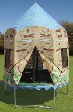 Create a fun jumping environment with this Bazoongi Kids Treehouse Trampoline Tent. It is made of polyester, which ensures strength and durability. It has a treehouse pattern with night sky roof, which is visually appealing. It can be attached to a 7.5 foot Bazoongi Kids trampoline and is exclusively designed for model # BZJP7506. It is weather-resistant, which ensures it withstands all the elements. It features a zippered front entrance, which makes it easy to enter the trampoline. This…