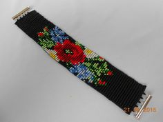 Black bracelet bracelet bead ethnic от TattingLaceJewellery