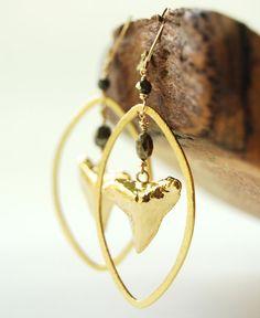 Kekoa earrings  gold shark tooth hoop earrings by kealohajewelry, $110.00