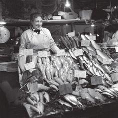 #Robert Doisneau // Paris, The Halles, Fishmonger, November 1959