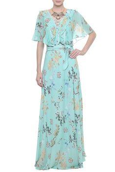 Vestido Longo Crepe Floral Florence