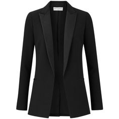 Amanda Wakeley Kashino Black Tux Jacket ($745) ❤ liked on Polyvore featuring outerwear, jackets, blazers, multicolor, multi color blazer, colorful blazers, colorful jackets, dinner jacket and shiny blazer