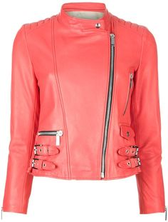 Barbara Bui Cropped Leather Jacket in Red (coral)