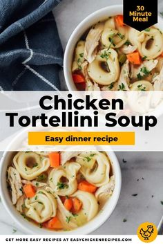 This chicken tortellini soup recipe is a healthier weeknight dinner option with a flavorful broth and plenty of hearty, delicious tortellini! Have this soup bubbling away at the end of a busy day, or serve it up to anyone filling under the weather this winter! #tortellini #chickensoup #weeknightdinner