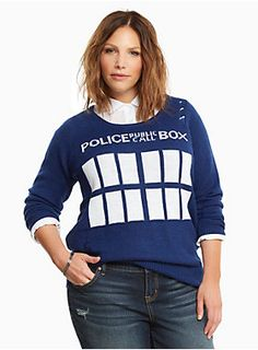 "You don't have to transcend time and space to get to this navy blue knit sweater. The cozy design resembles Doctor Who's TARDIS - complete with a ""Police Public Call Box"" graphic. It may not be bigger on the inside, but it is definitely cooler on the outside with distressed detailing.<div><b><br></b></div><div><b>Model is 5'9.5"", size 1 </b><div><div><ul><li style=""LIST-STYLE-POSITION: outside !important; LIST-STYLE-TYPE: disc !important"">Size 1 measures 30"" from shoulder</l..."