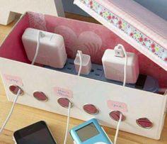 Réutilisez une vieille boite à chaussures pour cacher vos câbles
