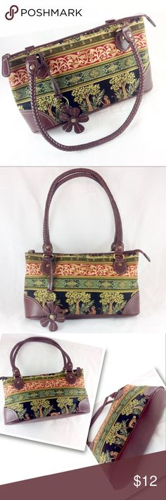 """Relic Tapestry Print Vegan Leather Bag EUC Like new! Super clean! Tapestry print fabric and faux leather bag. Round braided double handles. Original purse charm. Interior wall slip and zip pockets.  12 x 6.5 x 4.5"""".  Handle drop 10"""". Zip top closure.   🔹Please ask all your questions before you purchase!  🔹Sorry, no trades or holds. 🔹Please use Offer Button! 🔹Bundle for your best prices! Relic Bags Shoulder Bags"""