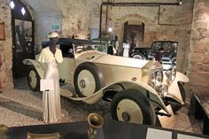 Greta Garbo's white 1927 Rolls Royce in Château de Grandson Castle on Lake Neuchatel in Switzerland.