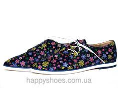 """Кожаные туфли с боковой шнуровкой с синим цветочным принтом: продажа, цена в Запорожье. туфли женские от """"HappyShoes"""" - 229953012"""