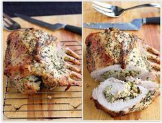 Rack of Pork Stuffed with Apples and Herbs