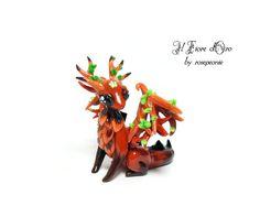 Wood Dragon sculpture. OOAK fantasy miniature with di ilFioredOro