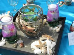 Beautiful Sea Themed Centerpieces for a July Wedding