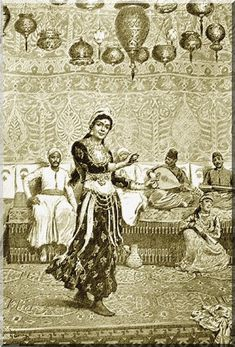 drien Marie, Danse de l'almée Aïoucha au café égyptien de la rue du Caire (1889, gravure, Le Monde Illustré du 3 août 1889). L'orientalisme produit un engouement en Occident pour les danseuses orientales. (ca n'est pas une almée)