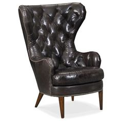 Shop for Hooker Furniture Souvereign Tufted Wing Chair, and other Living Room Chairs furniture. Leather Wingback Chair, Leather Chairs, Chair Price, Hooker Furniture, Furniture Chairs, Wing Chair, Upholstered Dining Chairs, Club Chairs, Living Room Chairs