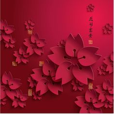 Free Vector Red Traditional art paper cutting flower with Chinese Happy New year Greeting Text wallpaper template illustration | 免費矢量紅色傳統藝術剪...
