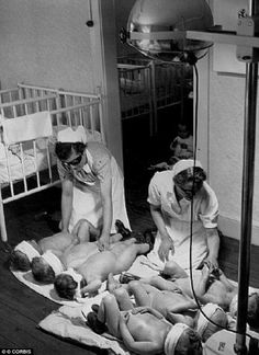 Lebensborn nurses make dark-haired children remain underneath a UV light, in hopes it will lighten their hair.