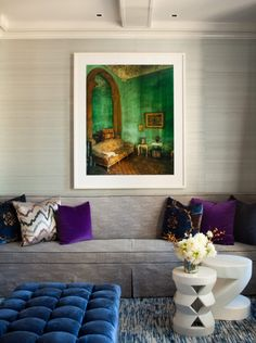 Amanda Nisbet via La Dolce Vita. beautiful jewel tones against neutral walls/floors