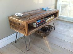 Industrial wood & steel TV/media stand or coffee table, reclaimed barnwood with hairpin legs.. $475.00, via Etsy.