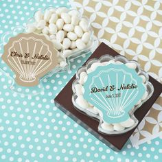 Seashell Acrylic Favor Boxes for Beach Wedding As they say, if you hold a seashell up to your ear, you can hear the sound of the ocean no matter where you are.