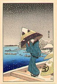 Ando Hiroshige (1797-1858)  Title: Umbrella in Heavy Snow