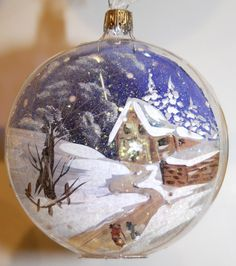 Village under the snow - Italian ornament